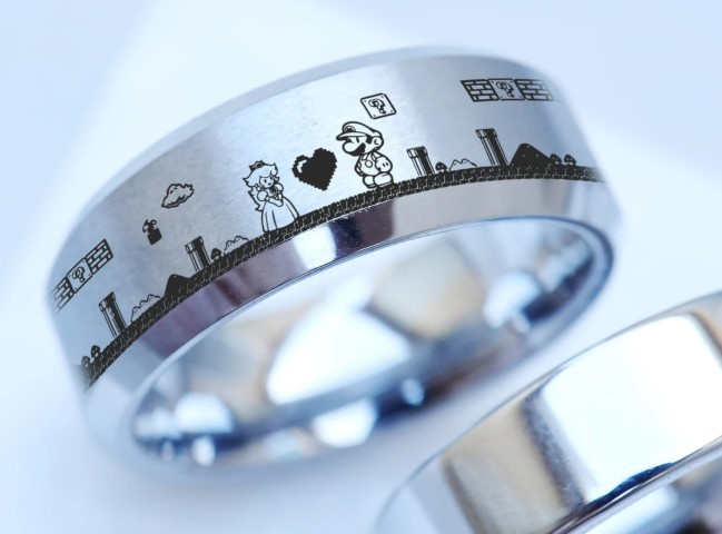 Princess Peach and Mario Wedding Ring For Gamers & Geeks (Small)