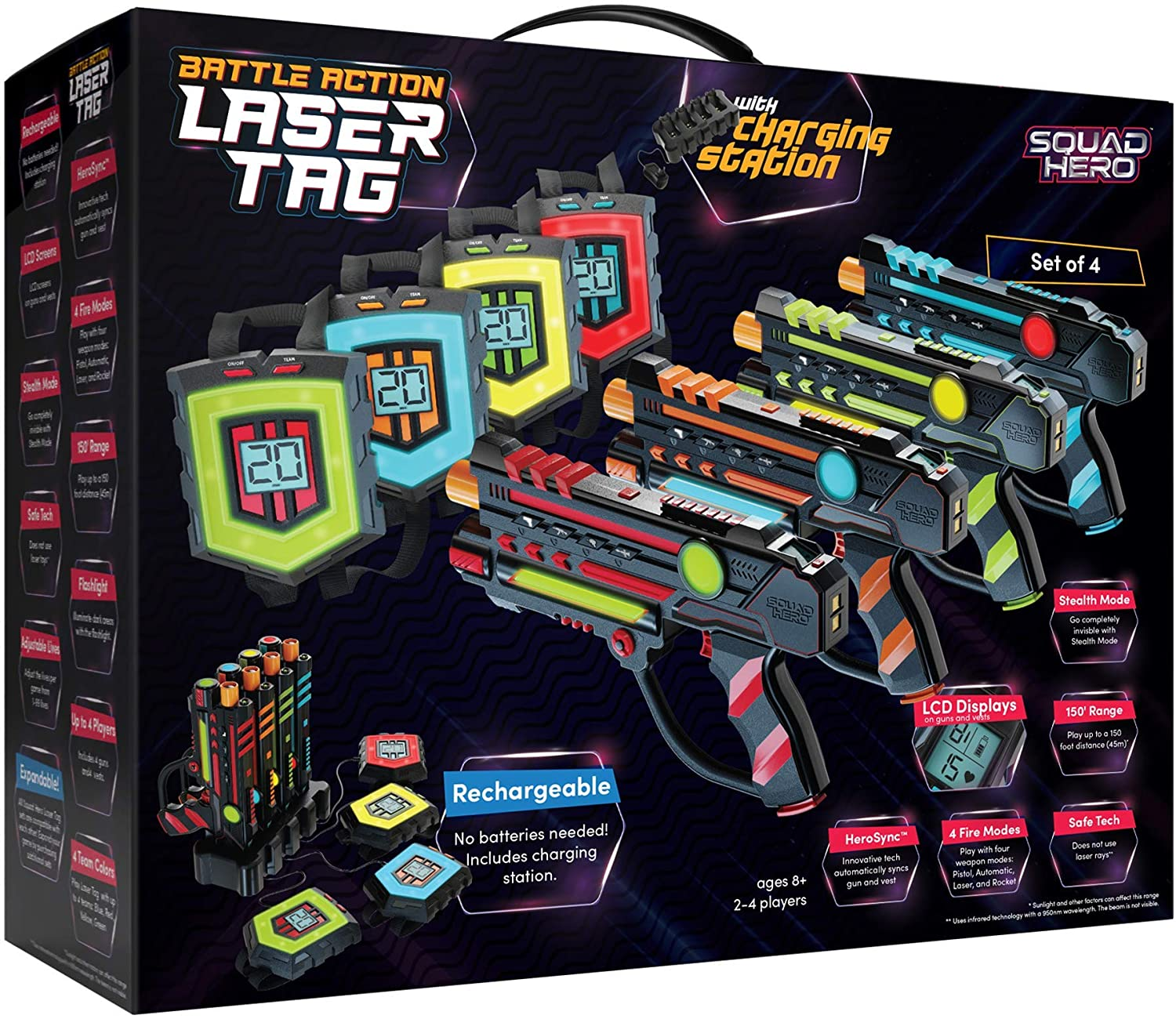 Rechargeable Laser Tag Games Set With Innovative LCDs and Sync (4 Infrared Guns & Vests)