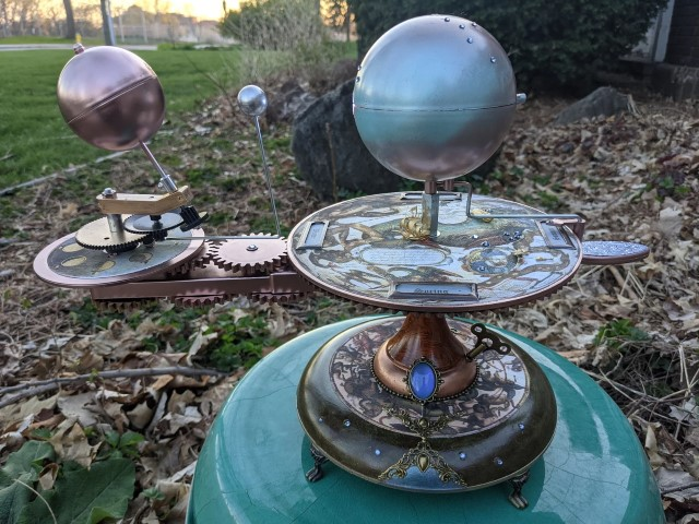 SALE Ready to Ship. Here There Be Dragons Solar System Model Orbiter Tellurian Orrery Planetarium Artist Made (Small)