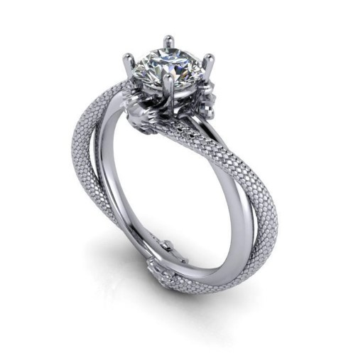 Silver Dragon Engagement Ring For Nerds (Small)