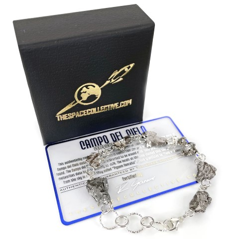 Space Bracelet with Real Meteorites - Sterling Silver (Small)