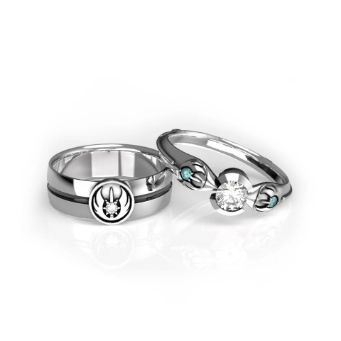 Star Wars Jedi Order Inspired Matching Wedding Rings for Geeks (Small)