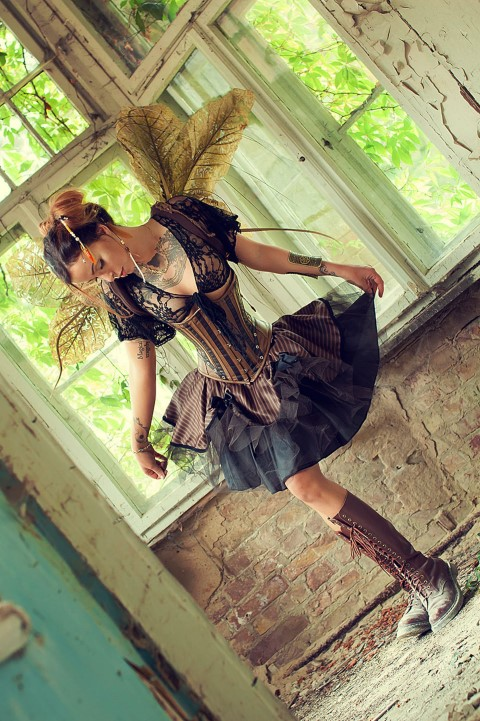 Steampunk Brown Striped Tutu Skirt with Tulle (Small)
