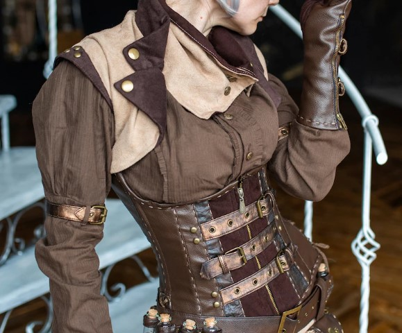 Steampunk brown corsage (Small)