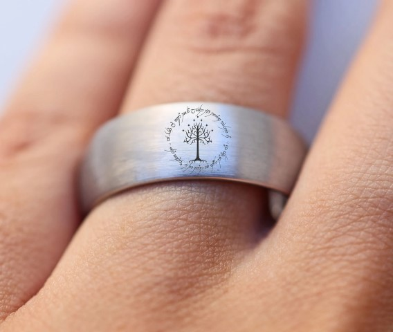 Tree of Gondor - Lord Of The Rings Wedding Rings For Nerds (Small)