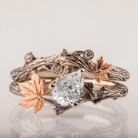 Twig and Leaf Fantasy Engagement Rings For Geeks (Small)