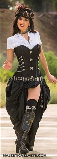 Victorian Steampunk Costume Corset with Black Bustle Skirt (Small)