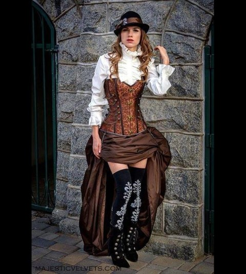 Victorian Steampunk Halloween Costumes Brown Corset (Small)