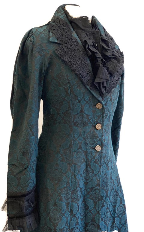 Women steampunk Gothic teal green Brocade frock long coat (Small)