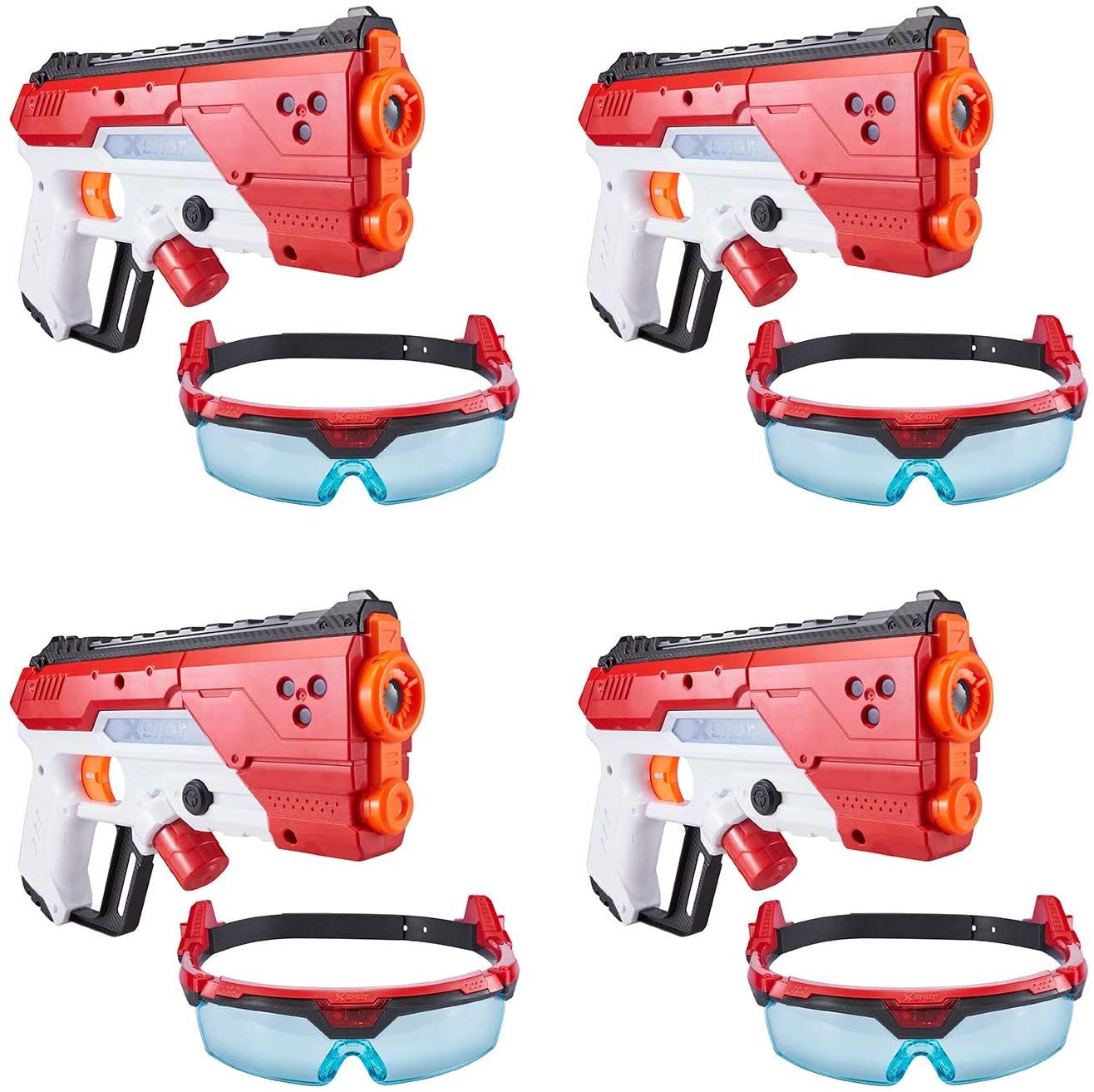 Zuru X-Shot Laser360° Ultimate Laser Blaster Party Pack (4 Laser Blasters, 4 Goggles)