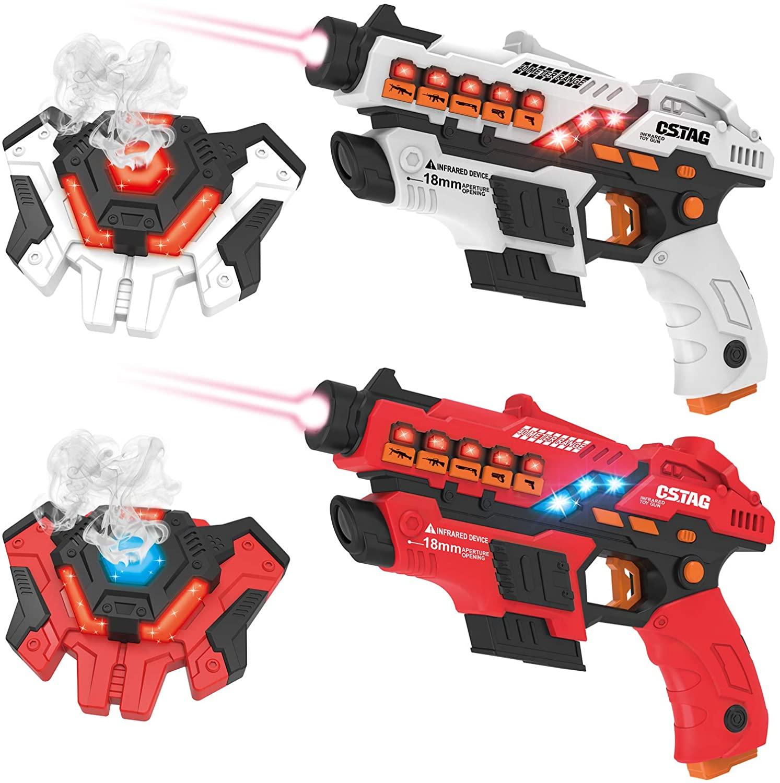 kolegend Laser Tag Gun Set with Spray Function, Upgraded Laser Tag Set of 2 Multi Function with Gun and Vest for Multi Player