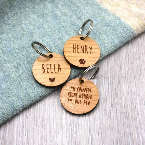 Personalised Wooden Dog ID Tag (Small)