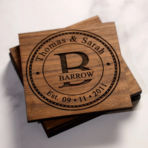 Personalized Wedding Coaster Gift Set - wood (Small)