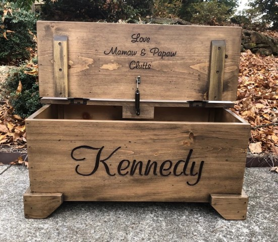 Personalized wooden bed chest - unique woodworking projects that sell (Small)